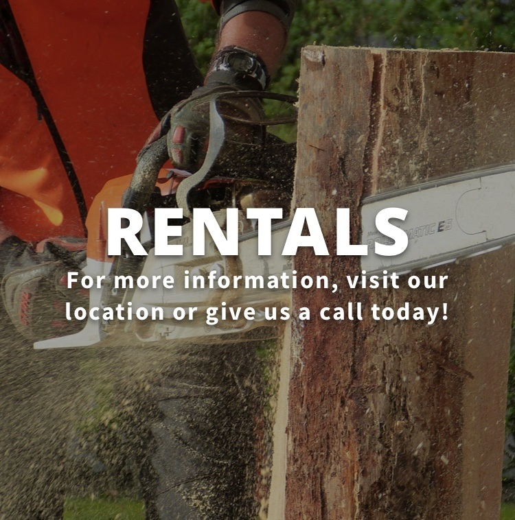 Stihl saw cutting wood with For more information, visit our location or give us a call today!