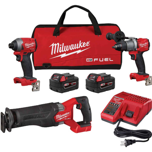 Milwaukee 3-Tool M18 FUEL 18 Volt Lithium-Ion Brushless Hammer Drill/Impact Driver/Sawzall Cordless Tool Combo Kit