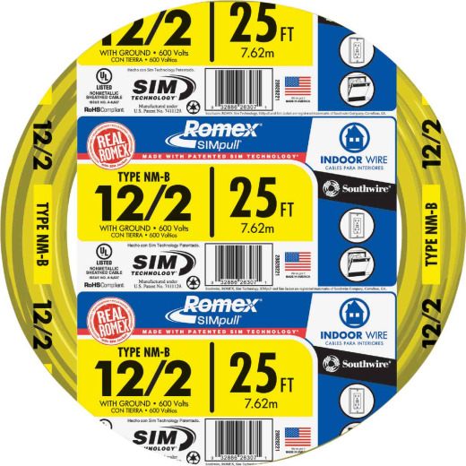 Romex 25 Ft. 12-2 Solid Yellow NMW/G Wire