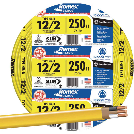 Romex 250 Ft. 12-2 Solid Yellow NMW/G Wire