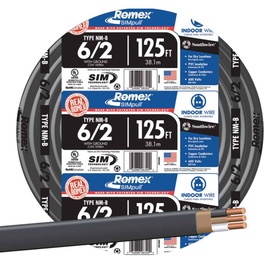 Romex 125 Ft. 6-2 Solid Black NMW/G Wire