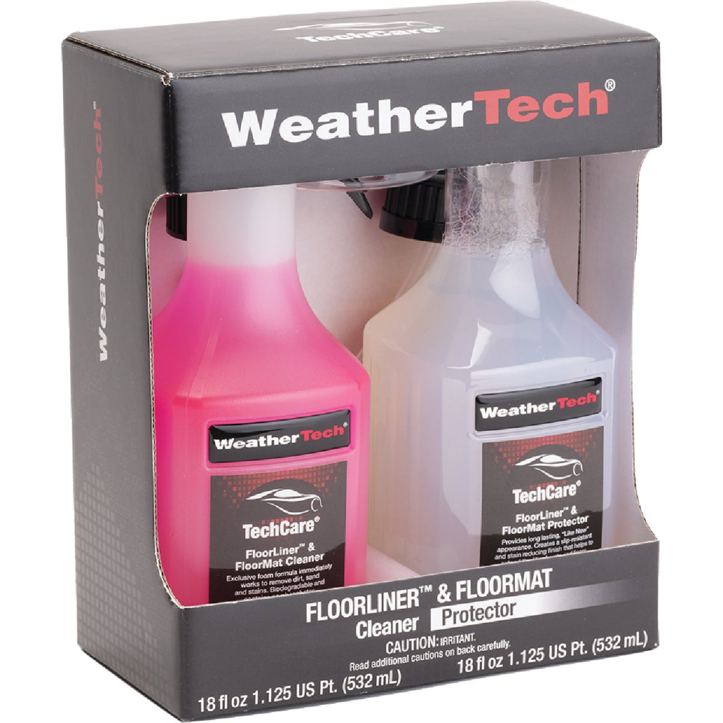 WeatherTech TechCare 18 Oz. Liquid Floorliner & Floormat Auto Interior Cleaner and 18 Oz. Liquid Protector Kit (2-Pack) Image 1