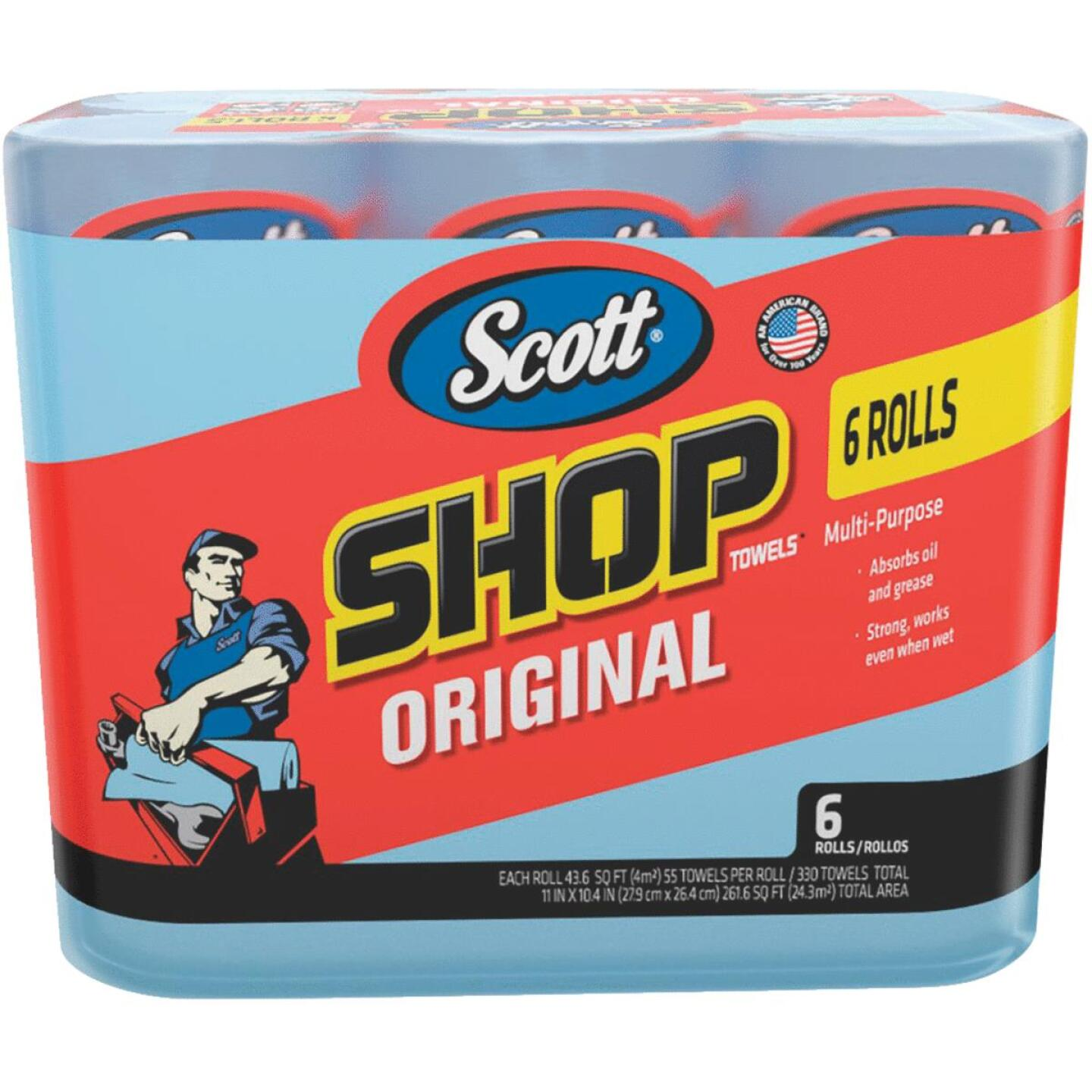 Scott 11 In. W x 10.4 In. L Disposable Original Shop Towel (6-Roll/330-Sheets) Image 1