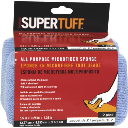Trimaco SuperTuff 3-1/4 In. W x 5-1/2 In. L Microfiber Car Wash Sponge (2-Pack)