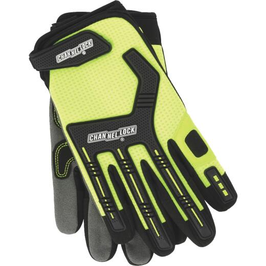 Channellock Men's Large Synthetic Leather Heavy-Duty Mechanics Glove, Hi-Visibility Yellow