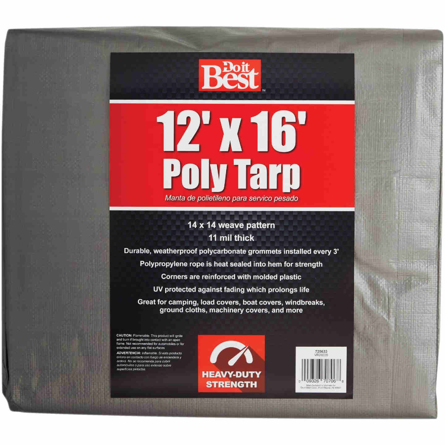 Do it Best Silver Woven 12 Ft. x 16 Ft. Heavy Duty Poly Tarp Image 1