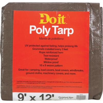 Do it Green/Brown Woven 9 Ft. x 12 Ft. Medium Duty Poly Tarp