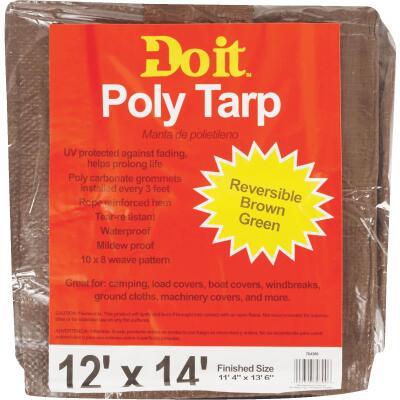 Do it 1 Side Green/1 Side Brown Woven 12 Ft. x 14 Ft. Medium Duty Poly Tarp